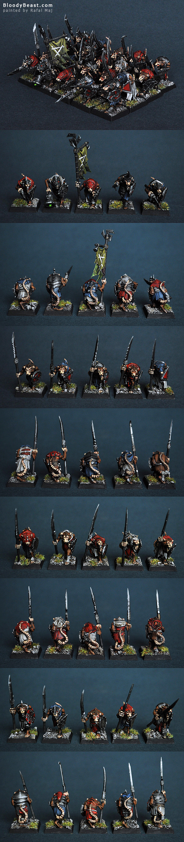 Skaven Clanrats with Spears painted by Rafal Maj (BloodyBeast.com)