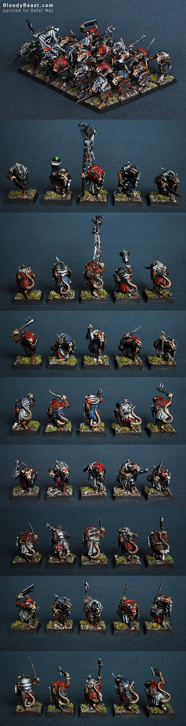 Skaven Clanrats with Hand Weapons painted by Rafal Maj (BloodyBeast.com)