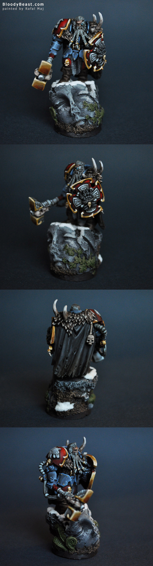 Space Wolves Lone Wolf with Thunderhammer and Storm Shield painted by Rafal Maj (BloodyBeast.com)