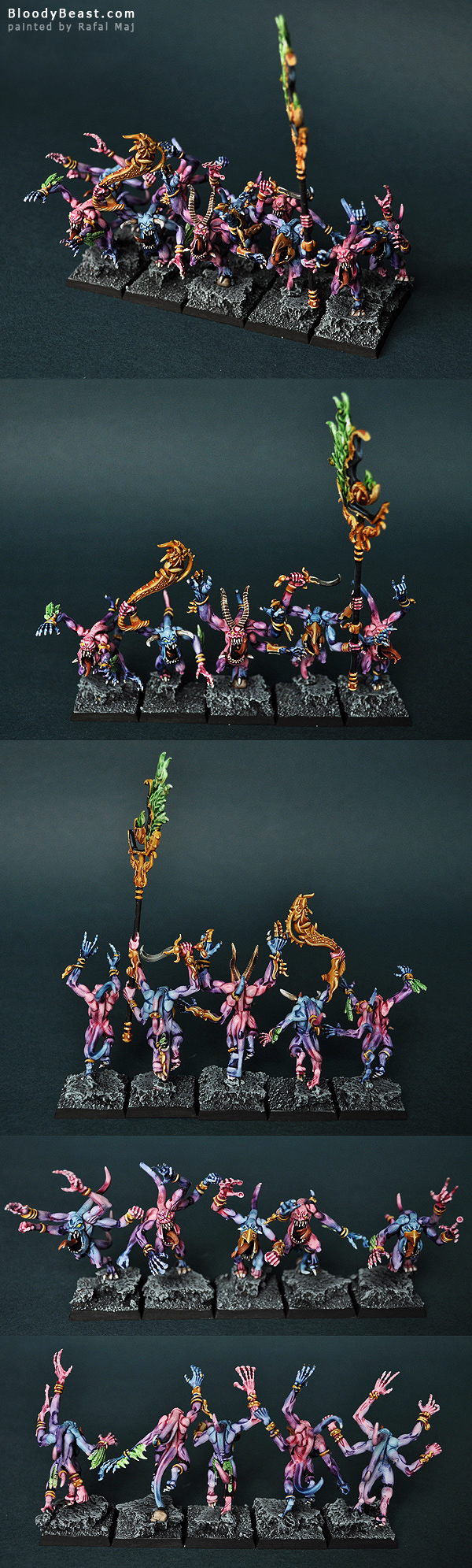 Pink Horrors of Tzeentch with Command painted by Rafal Maj (BloodyBeast.com)