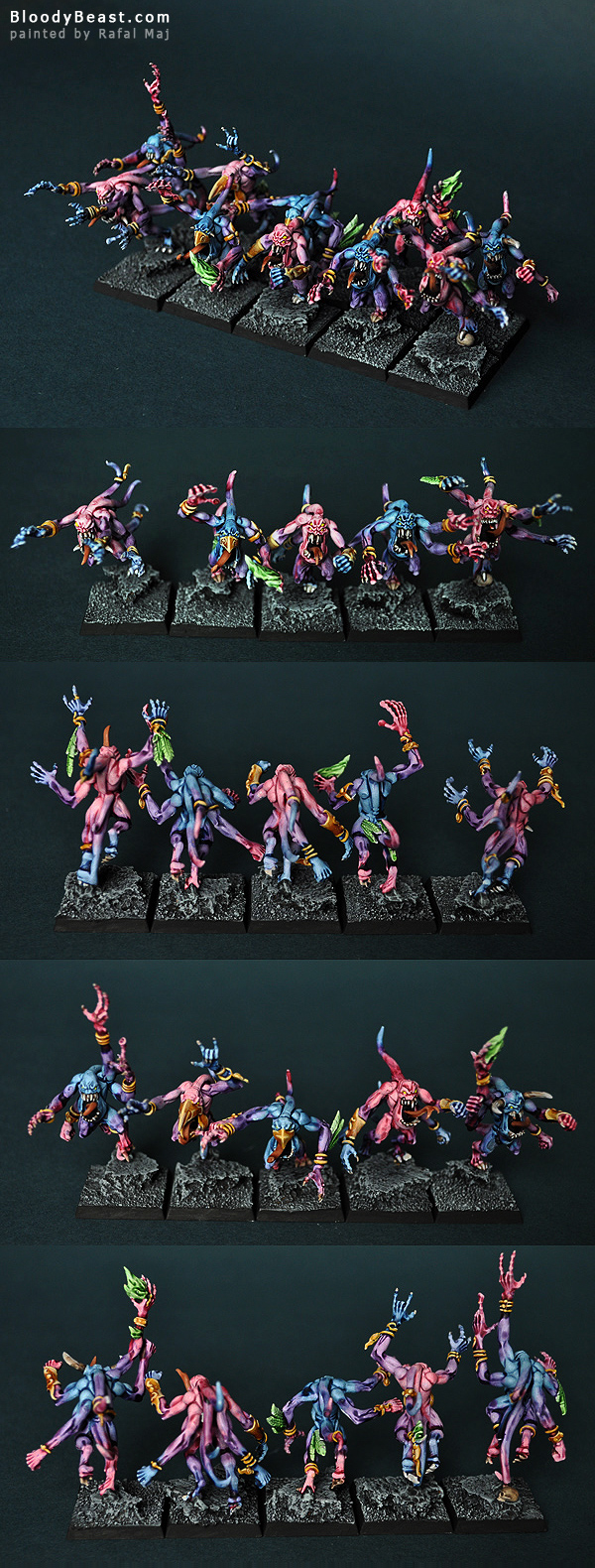 Pink Horrors of Tzeentch painted by Rafal Maj (BloodyBeast.com)