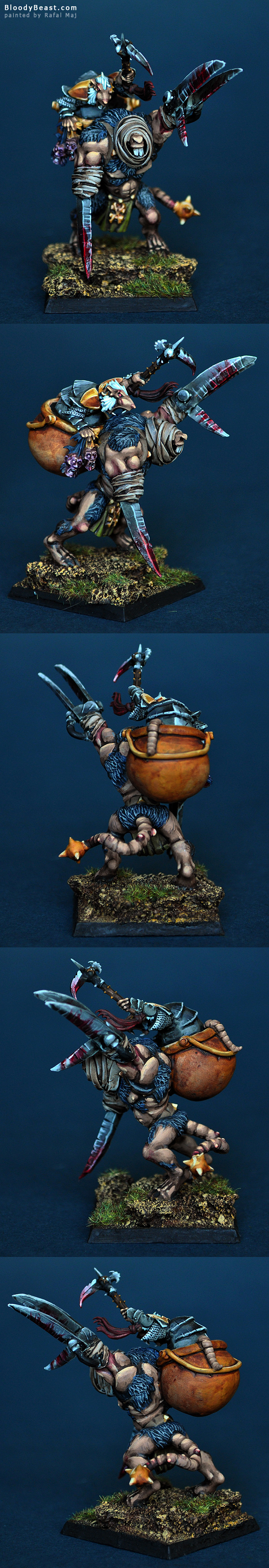 Skaven Lord on Rat Ogre Bonebreaker painted by Rafal Maj (BloodyBeast.com)