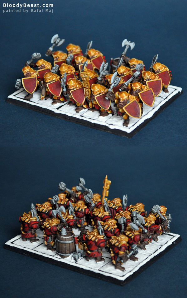 Dwarf Ironclad Regiment painted by Rafal Maj (BloodyBeast.com)
