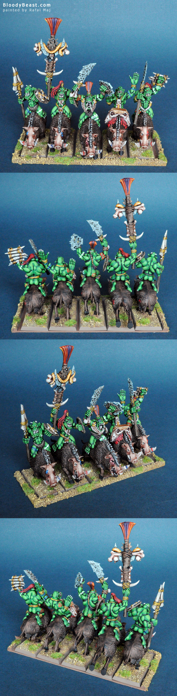 Savage Orc Boar Boyz with Command Group painted by Rafal Maj (BloodyBeast.com)