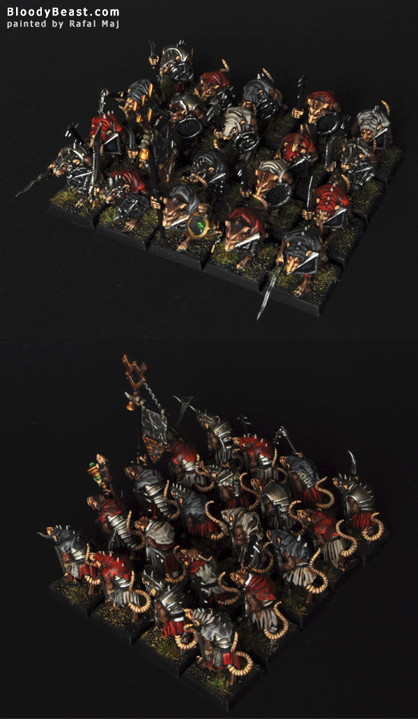 Skaven Clanrats with Hand Weapons and Shields painted by Rafal Maj (BloodyBeast.com)