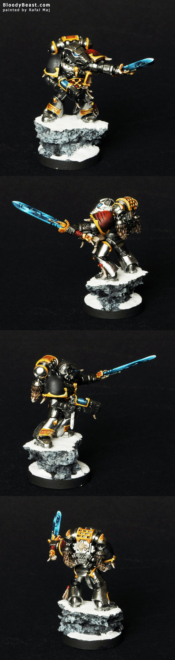 Space Wolf Lone Wolf with Chrome Metallic Armor painted by Rafal Maj (BloodyBeast.com)