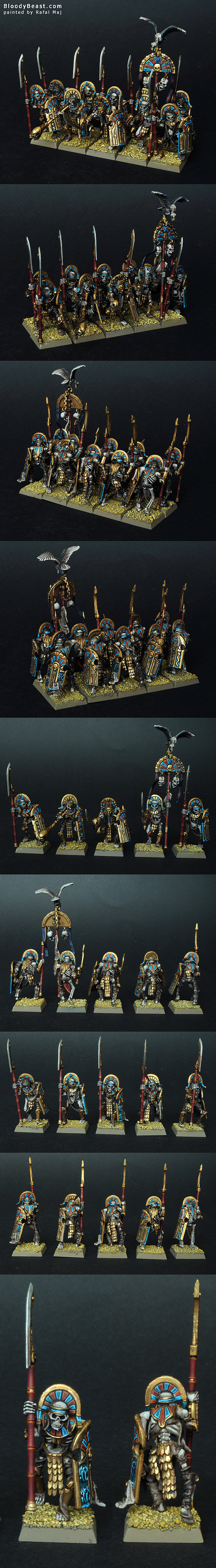 Tomb Kings Tomb Guards with Helbards and Shields painted by Rafal Maj (BloodyBeast.com)