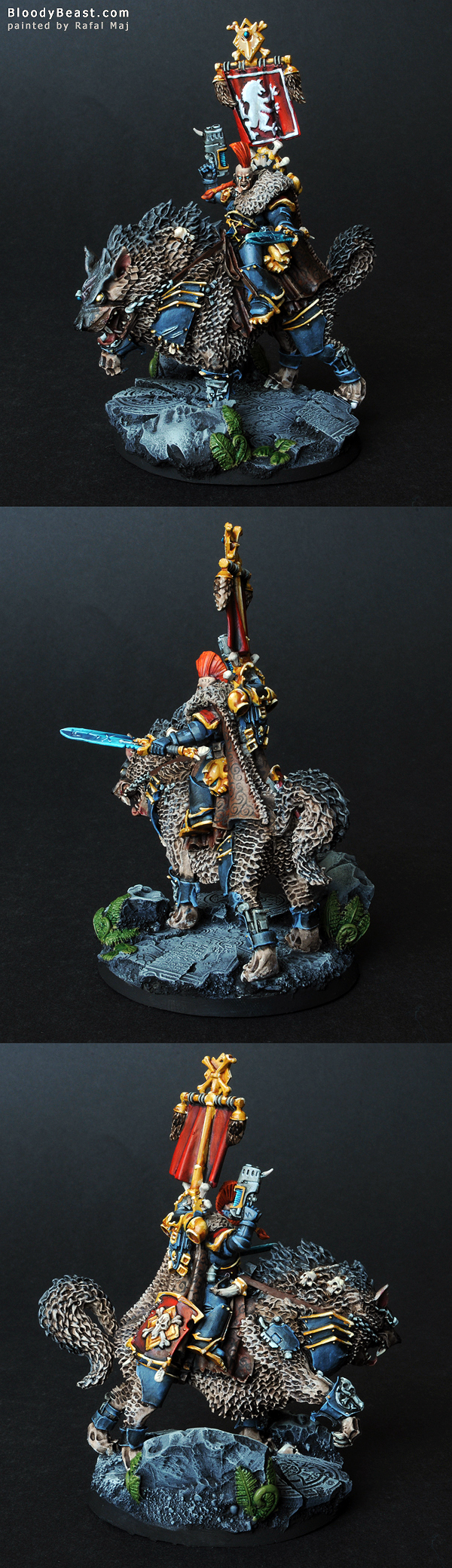 Space Wolf Thunderwolf Cavalry painted by Rafal Maj (BloodyBeast.com)