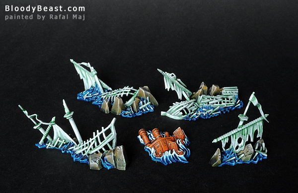 Dreadfleet Shipwrecks painted by Rafal Maj (BloodyBeast.com)