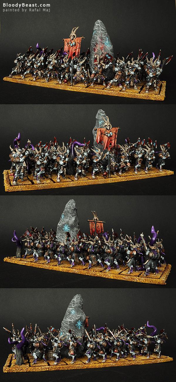 Beastmen Bestigors of Slaanesh Horde painted by Rafal Maj (BloodyBeast.com)