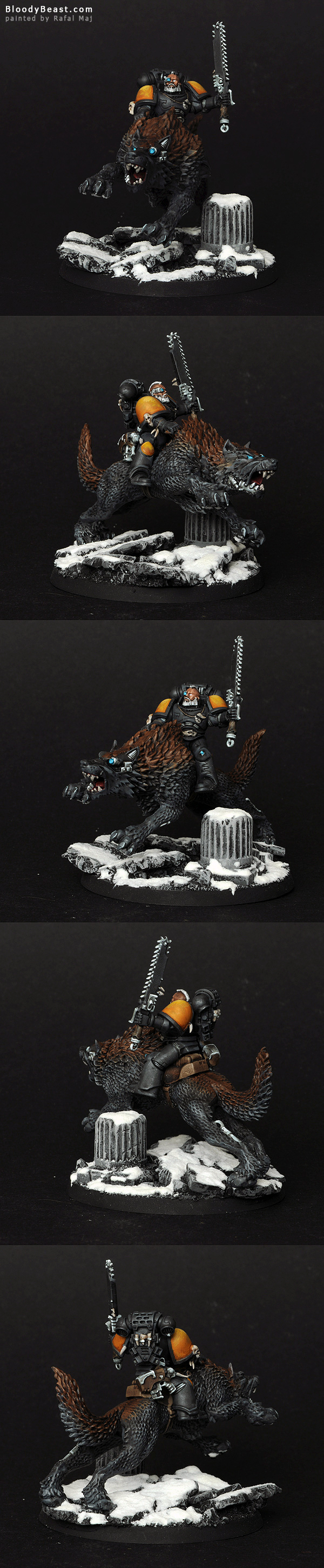 Space Wolves Thunderwolf Cavalry painted by Rafal Maj (BloodyBeast.com)