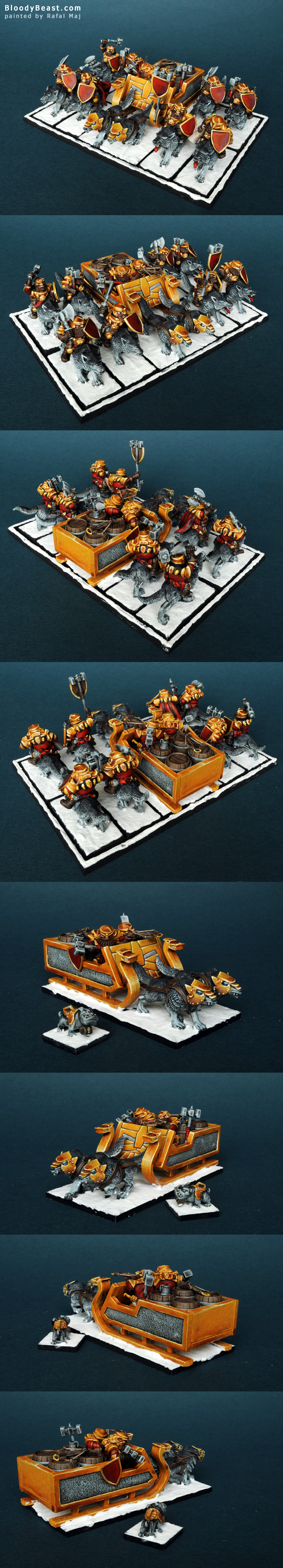 Mantic Dwarf Husky Cavalry with Sledge Chariot painted by Rafal Maj (BloodyBeast.com)