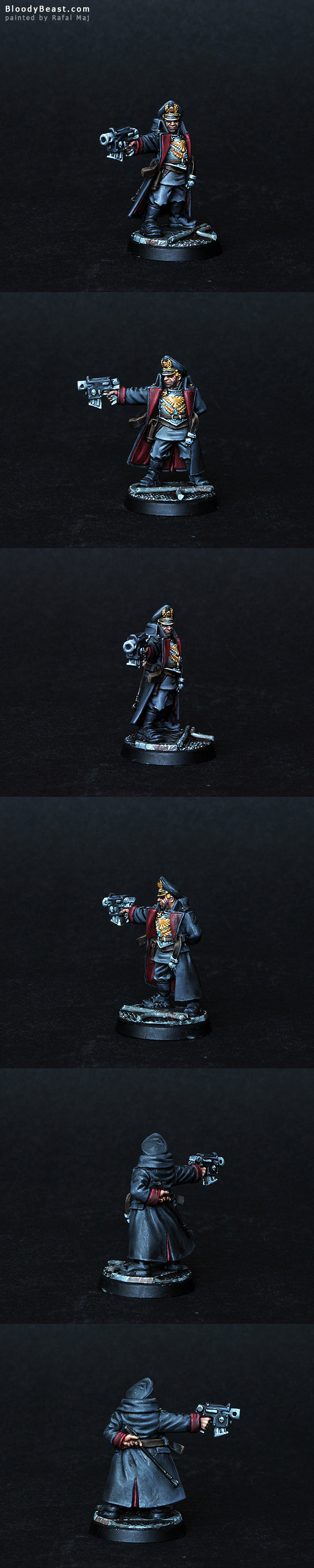 Imperial Guards Commissar with Bolt Pistol painted by Rafal Maj (BloodyBeast.com)