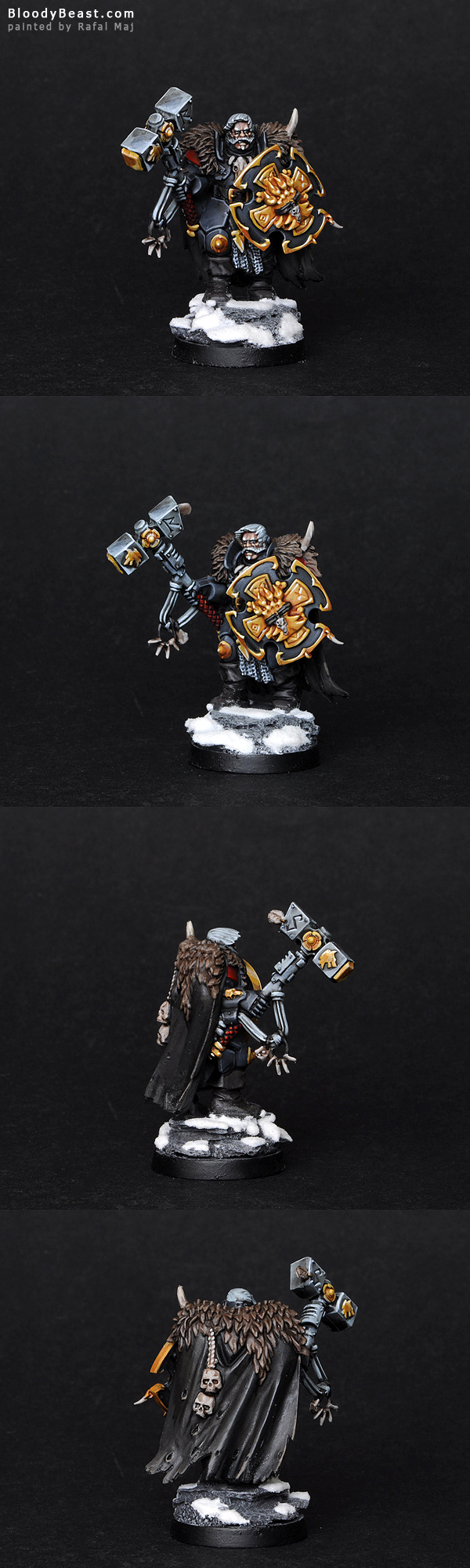 Space Wolves Lone Wolf with Hammer and Shield painted by Rafal Maj (BloodyBeast.com)