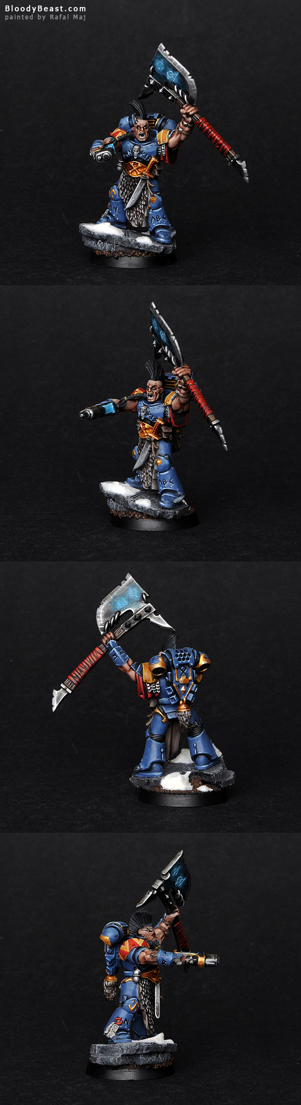 Space Wolves Rune Priest with Force Axe painted by Rafal Maj (BloodyBeast.com)