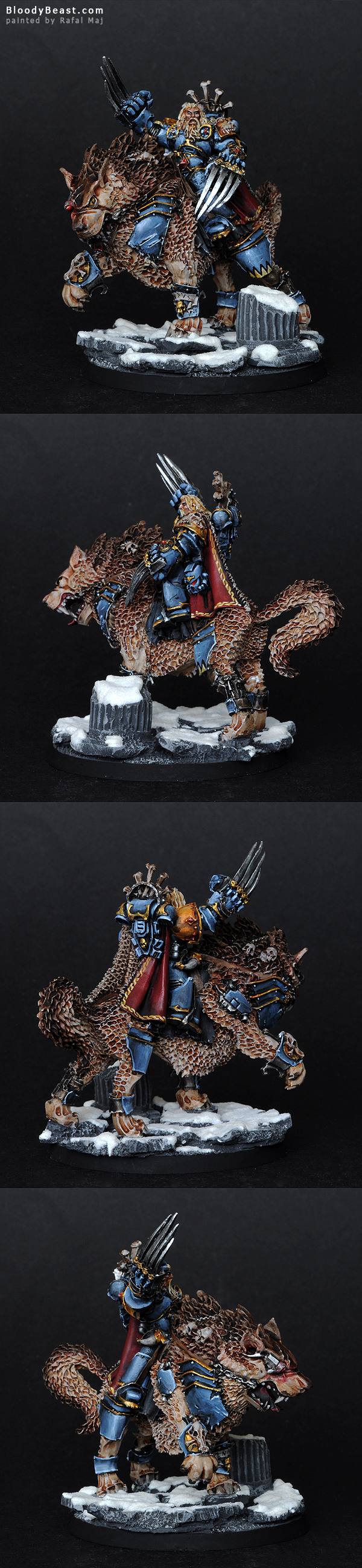 Space Wolves Canis Wolfborn on Thunderwolf painted by Rafal Maj (BloodyBeast.com)