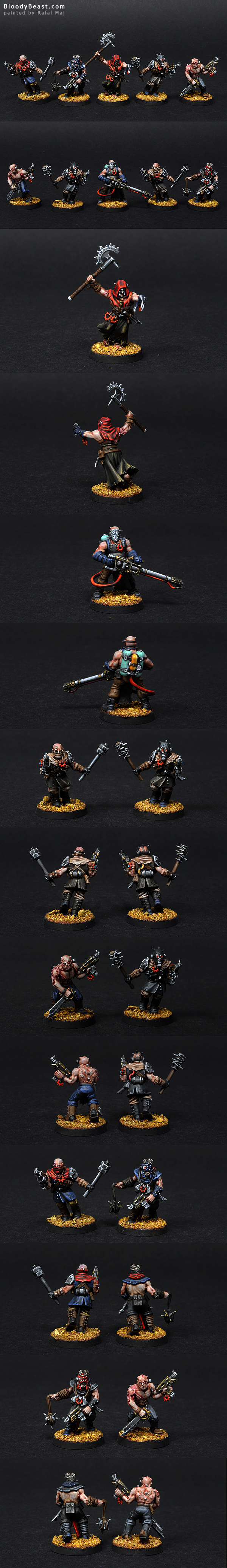 Chaos Space Marines Cultists with Flamer painted by Rafal Maj (BloodyBeast.com)