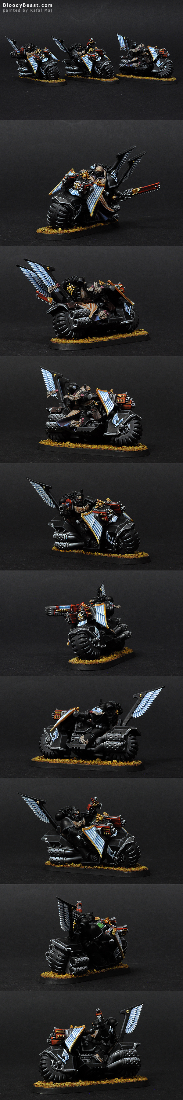 Dark Angels Ravenwing Bike Squad painted by Rafal Maj (BloodyBeast.com)