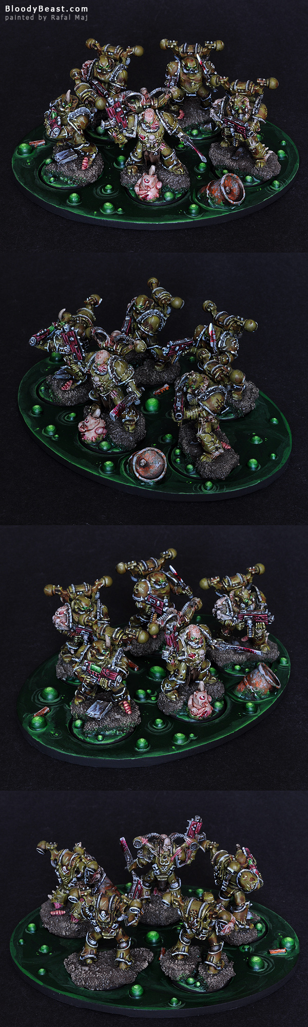 Chaos Space Marines Plague Marines painted by Rafal Maj (BloodyBeast.com)