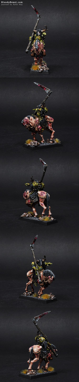 Nurgle Chaos Sorcerer on Daemonic Mount painted by Rafal Maj (BloodyBeast.com)