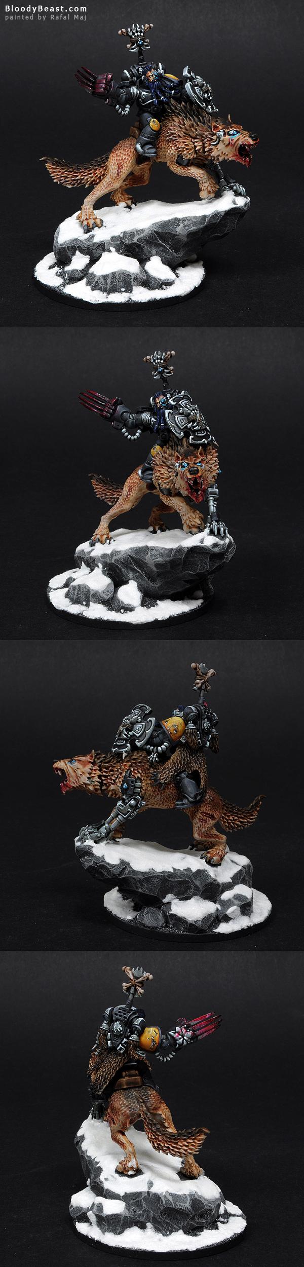 Wolf Lord on Thunderwolf painted by Rafal Maj (BloodyBeast.com)
