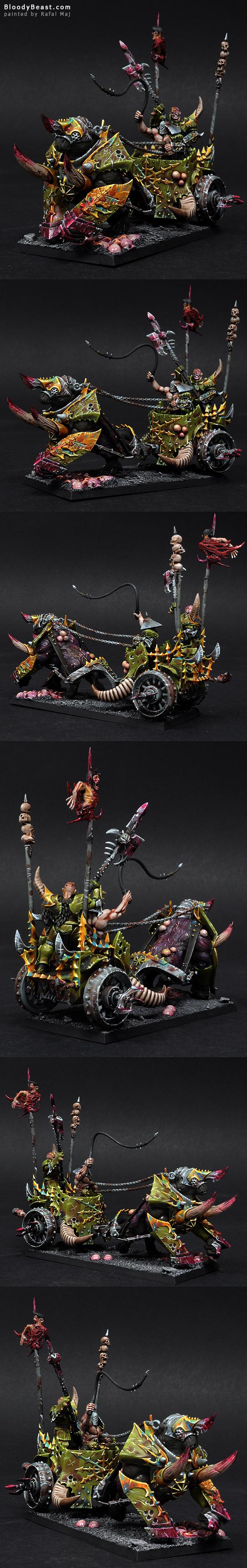 Nurgle Gorebeast Chariot painted by Rafal Maj (BloodyBeast.com)