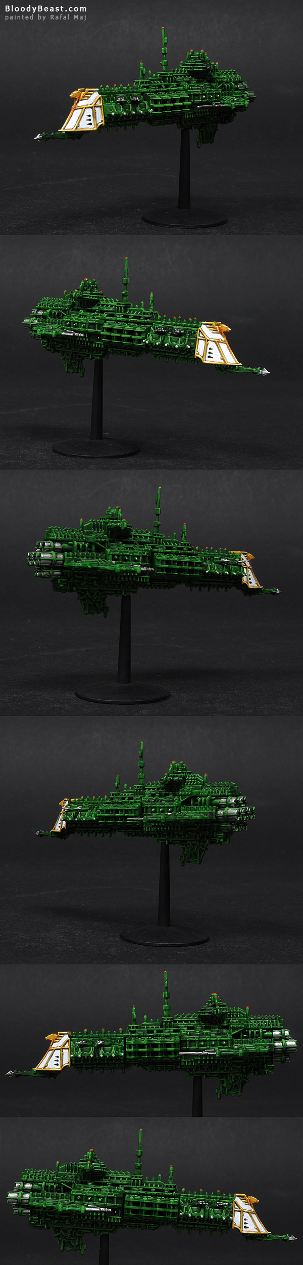 Battlefleet Gothic Imperial Crusier painted by Rafal Maj (BloodyBeast.com)