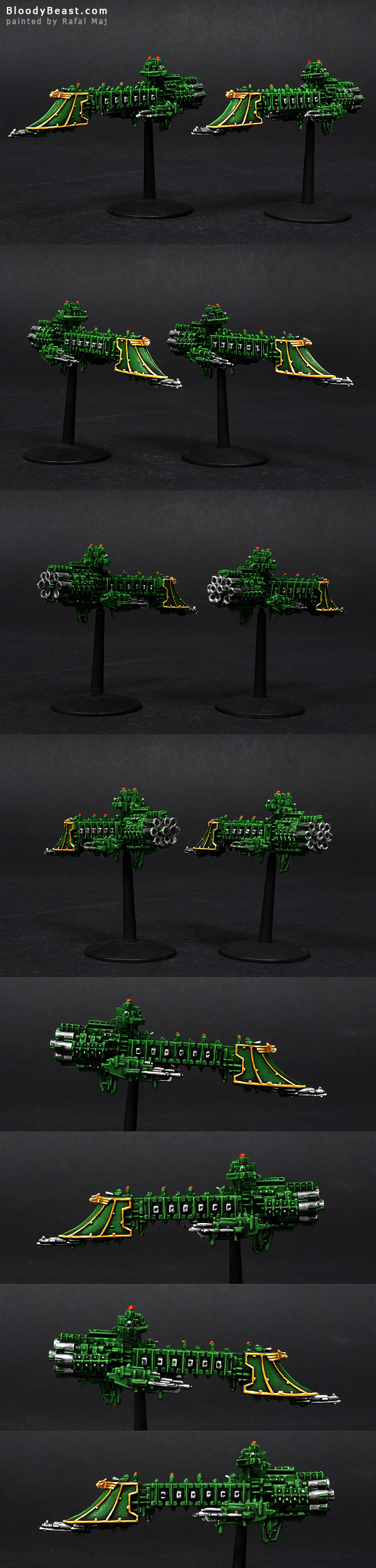 Battlefleet Gothic Imperial Dauntless Class Light Crusiers Lance painted by Rafal Maj (BloodyBeast.com)