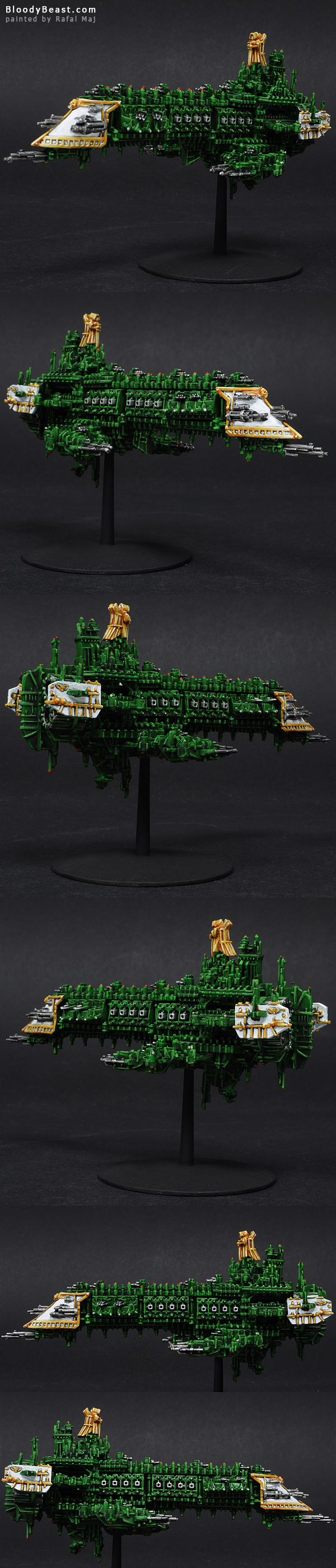 Battlefleet Gothic Imperial Emperor Class Battleship painted by Rafal Maj (BloodyBeast.com)
