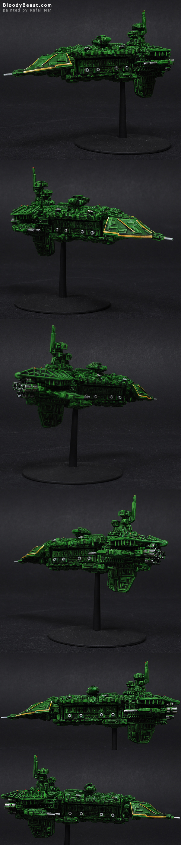 Battlefleet Gothic Imperial Vengeance Class Grand Cruiser painted by Rafal Maj (BloodyBeast.com)
