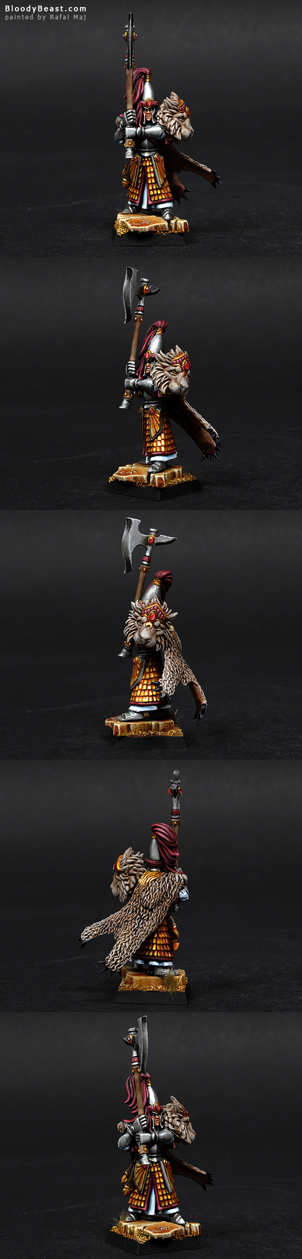 High Elves Lion Prince with Great Axe painted by Rafal Maj (BloodyBeast.com)