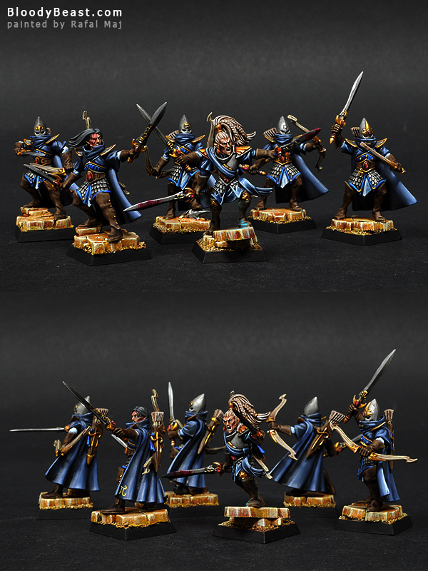 High Elves Shadow Warriors with Shadow Prince painted by Rafal Maj (BloodyBeast.com)