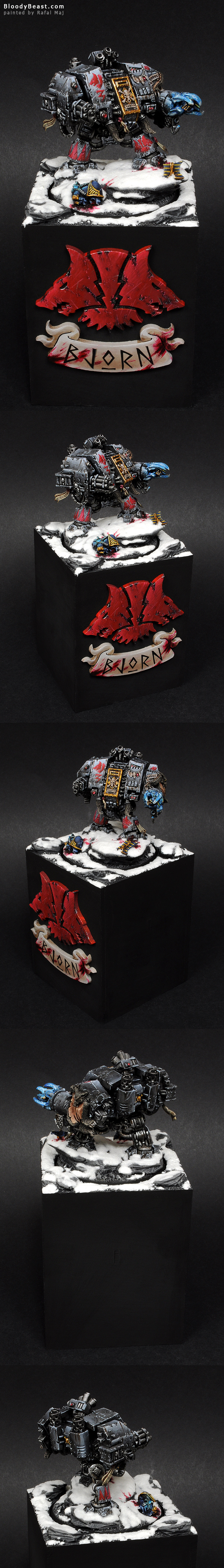 Space Wolves Bjorn The Fell-Handed on Plinth painted by Rafal Maj (BloodyBeast.com)