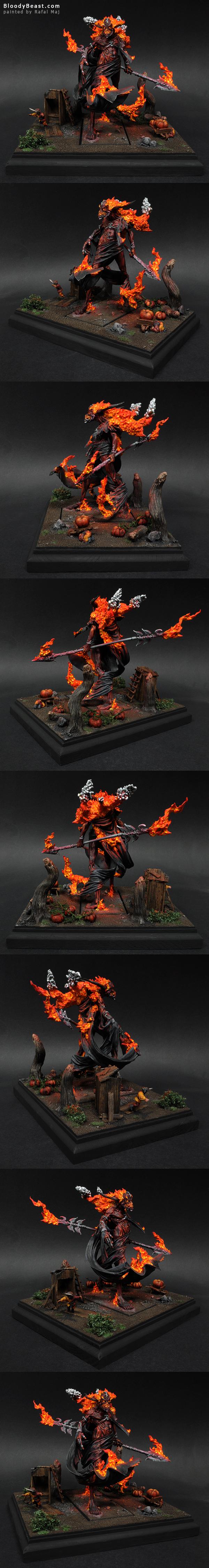 Incarnate Elemental Of Fire on Display Base painted by Rafal Maj (BloodyBeast.com)