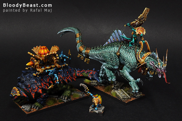 Lizardmen Monsters painted by Rafal Maj (BloodyBeast.com)