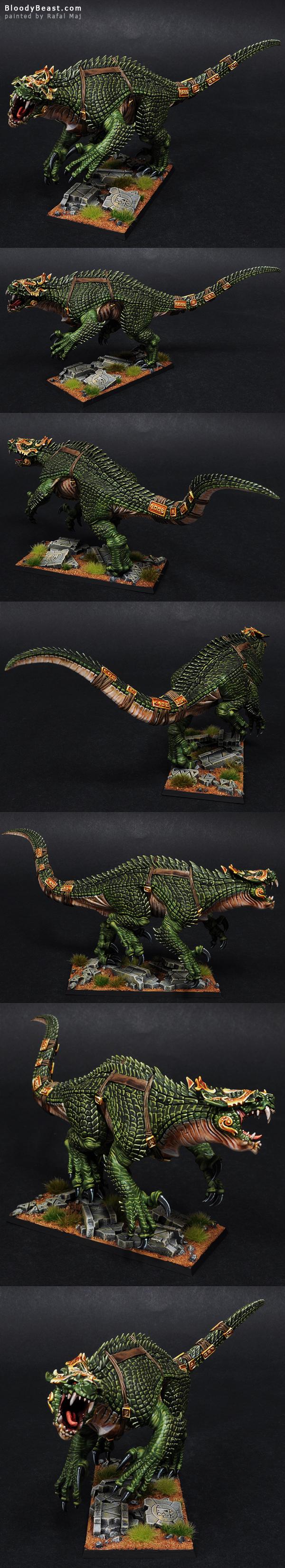 Lizardmen Carnosaur painted by Rafal Maj (BloodyBeast.com)