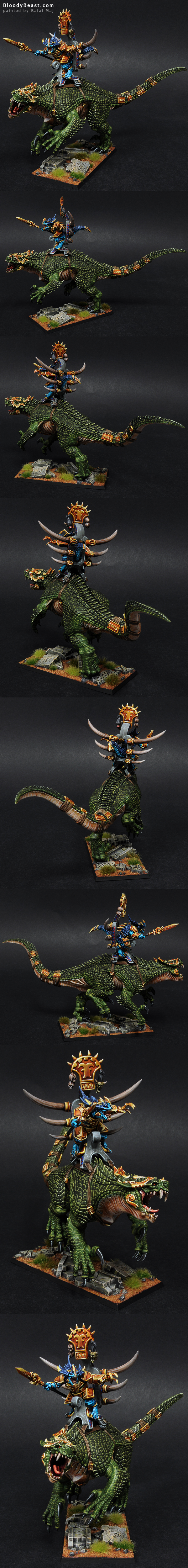 Lizardmen Legendary Saurus Lord Kroq-Gar On Carnosaur Grymloq painted by Rafal Maj (BloodyBeast.com)