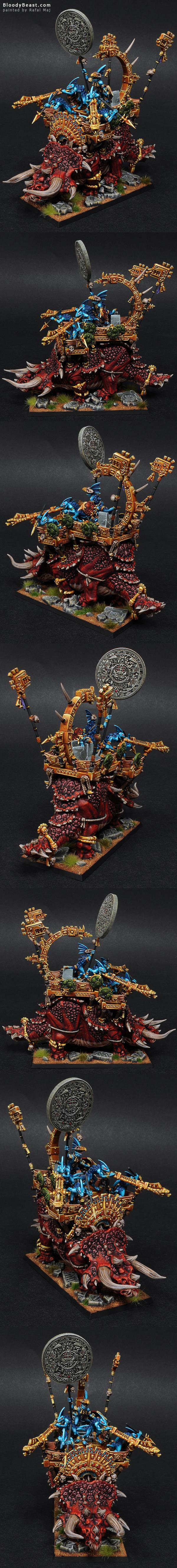 Lizardmen Stegadon with Skink Battle Standard Bearer painted by Rafal Maj (BloodyBeast.com)
