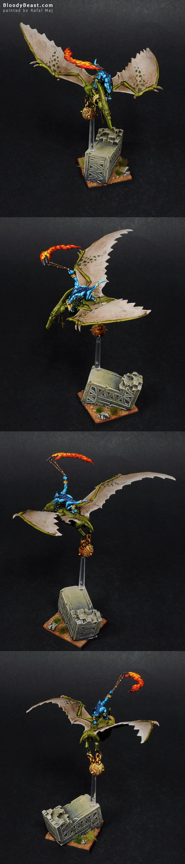 Lizardmen Terradon Rider painted by Rafal Maj (BloodyBeast.com)