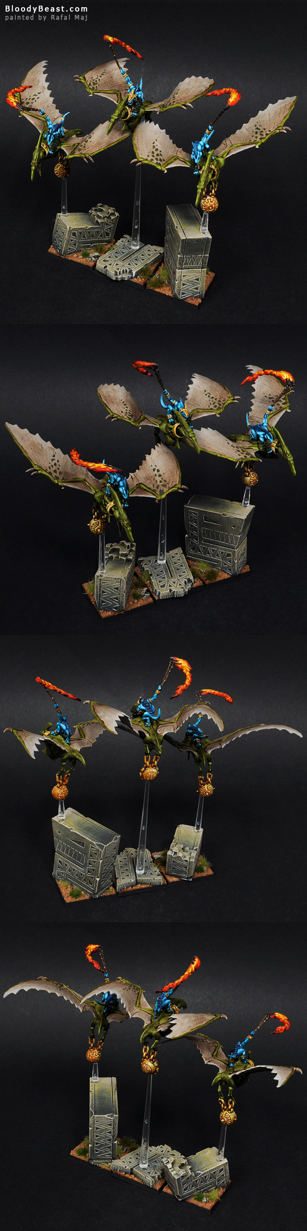Lizardmen Terradon Riders painted by Rafal Maj (BloodyBeast.com)