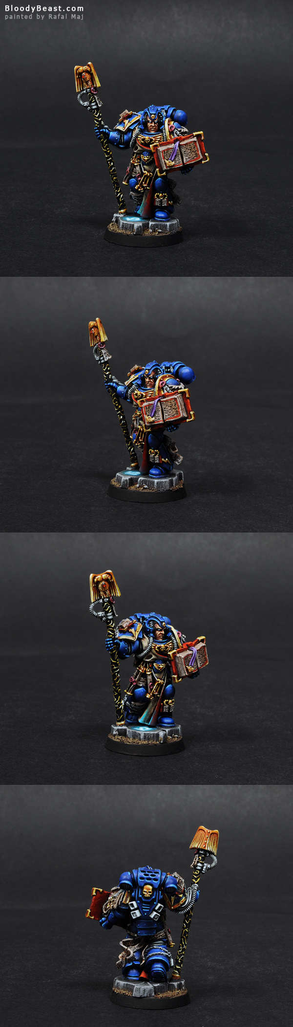 Space Marine Librarian with Staff & Book painted by Rafal Maj (BloodyBeast.com)