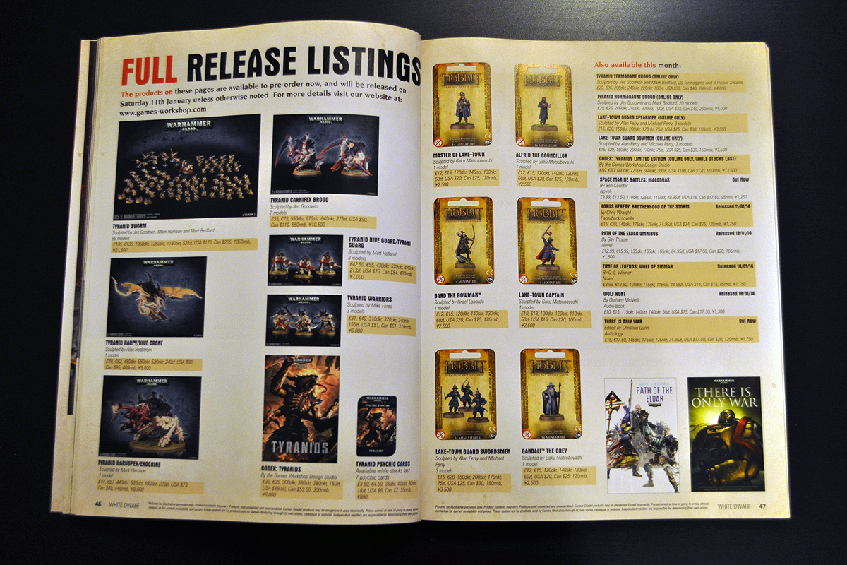 White Dwarf January 2014 New Release Listings