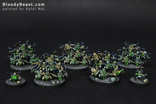 Nurglings painted by Rafal Maj (BloodyBeast.com)