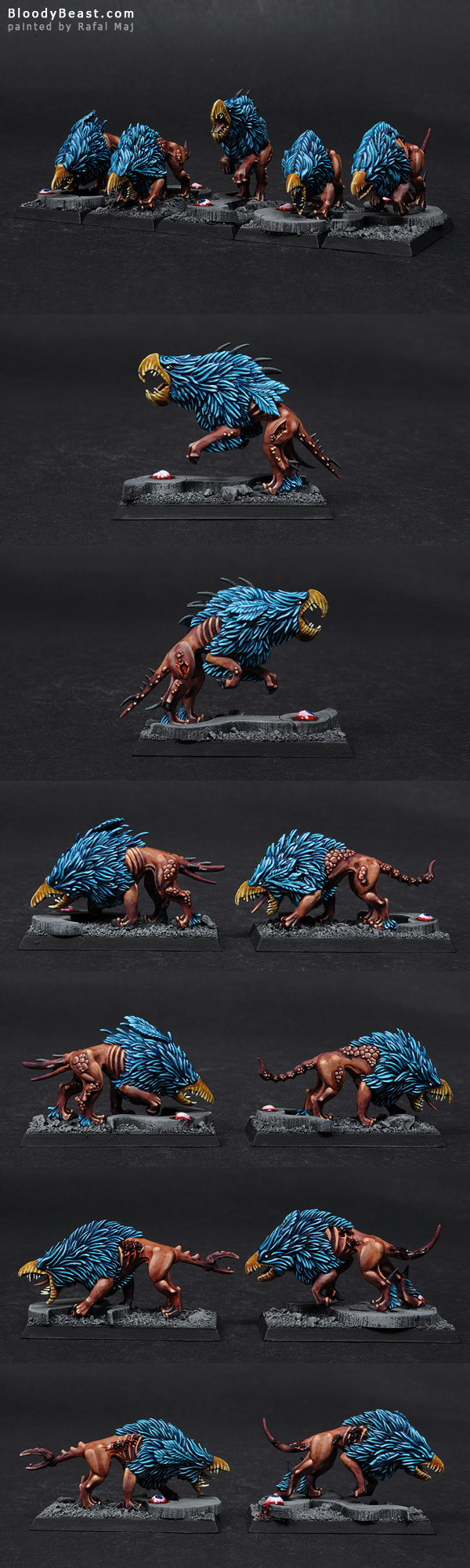 Chaos Warhounds of Tzeentch Closeups Painted by Rafal Maj (BloodyBeast.com)