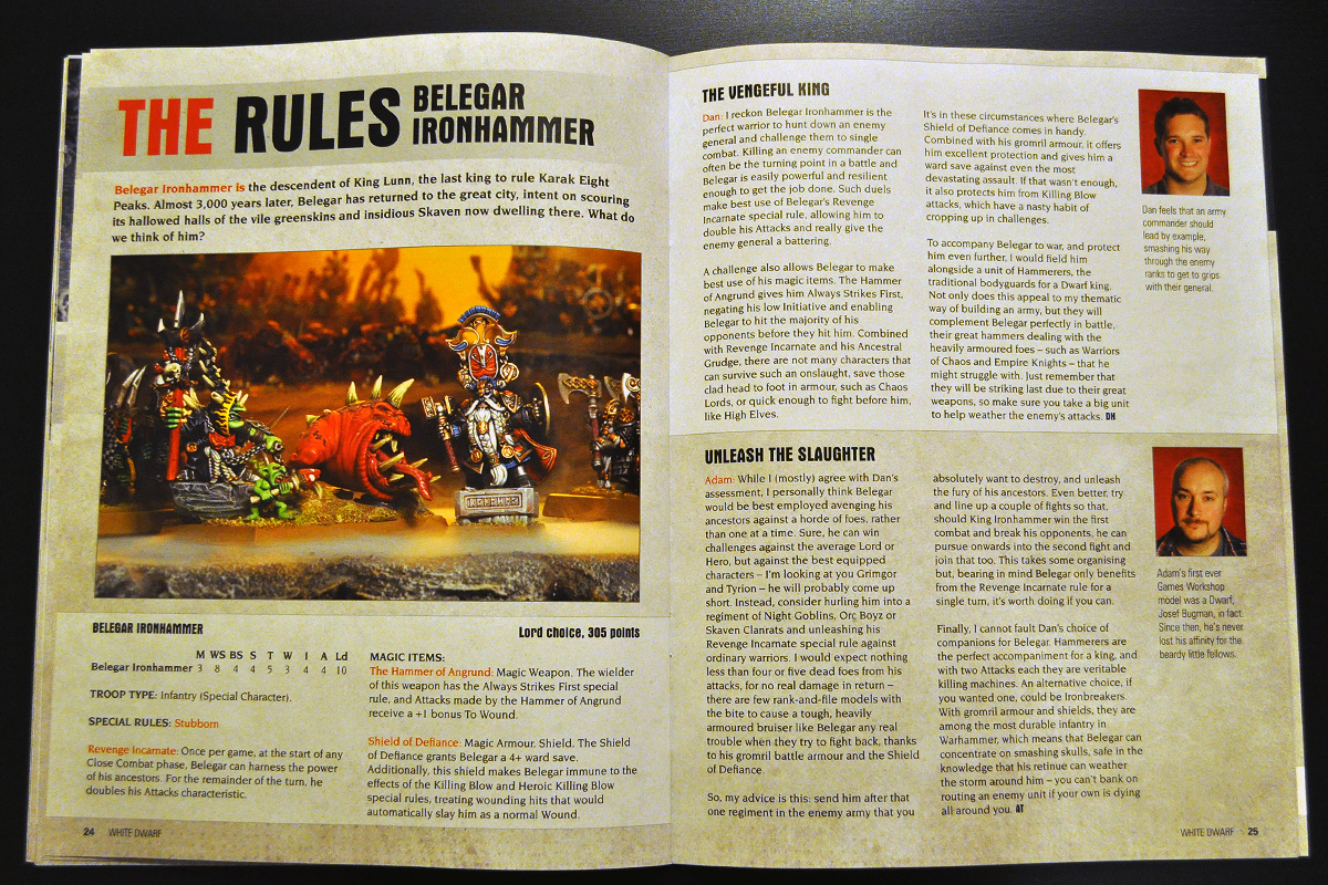 White Dwarf Ferbruary 2014 Week 1 Belegar Ironhammer Rules