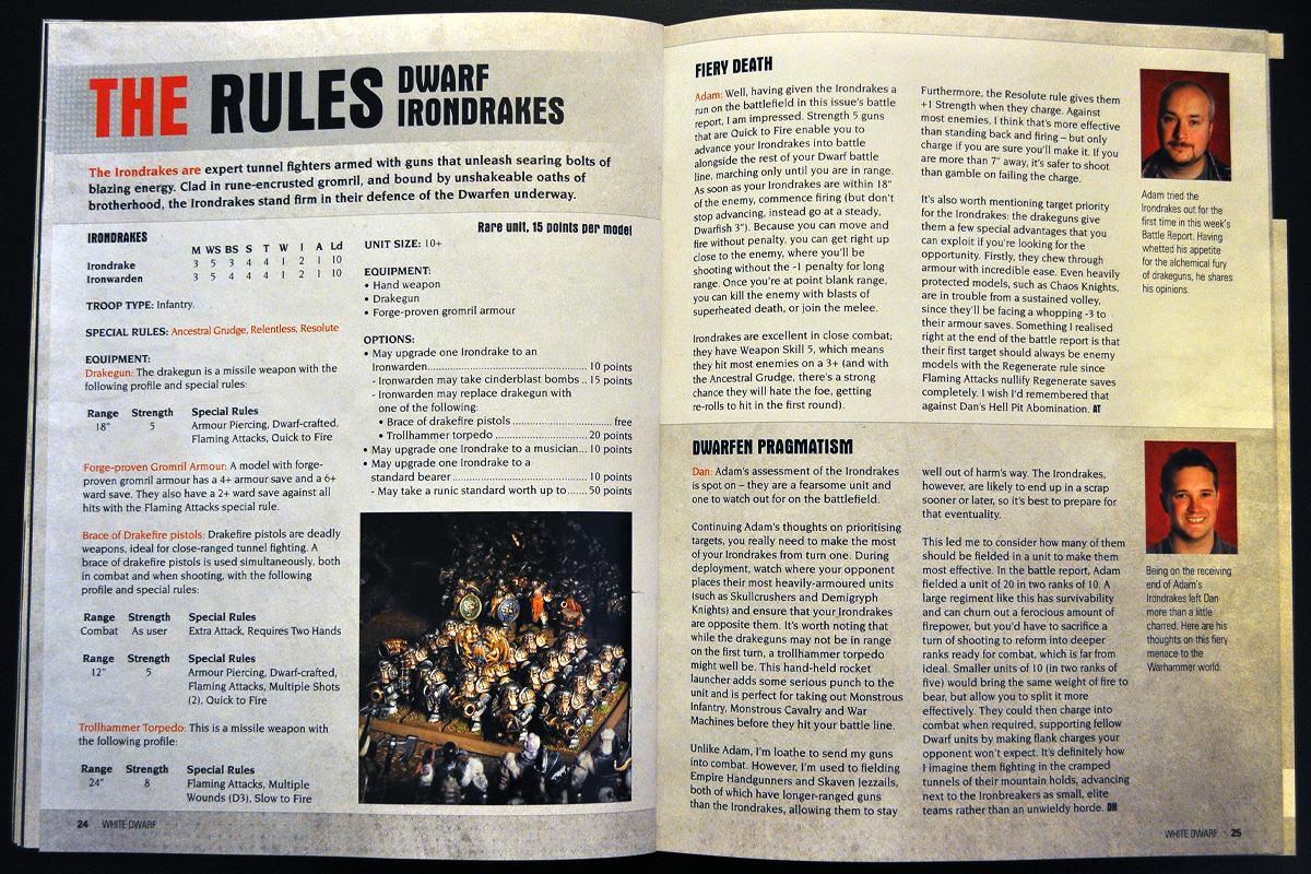 White Dwarf Ferbruary 2014 Week 3 Dwarf Irondrakes Rules