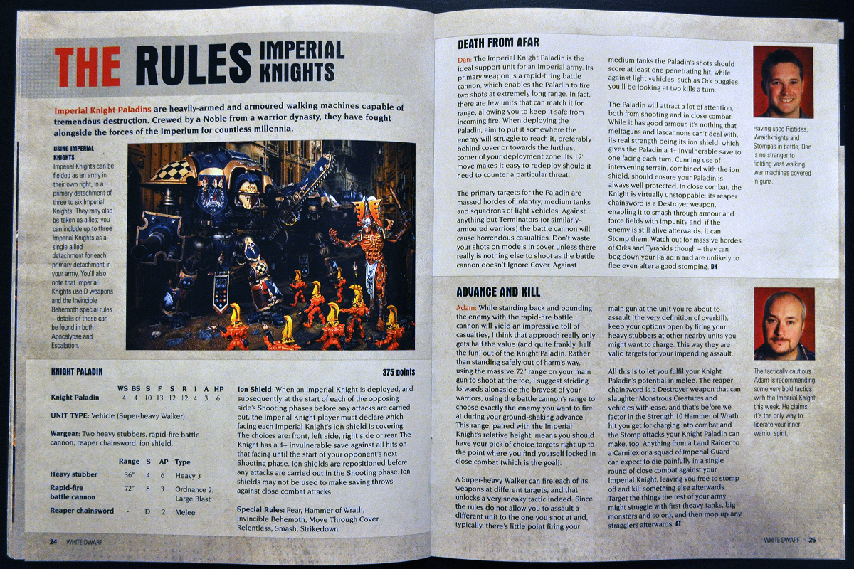 White Dwarf Ferbruary 2014 Week 4 Imperial Knight Paladin Rules