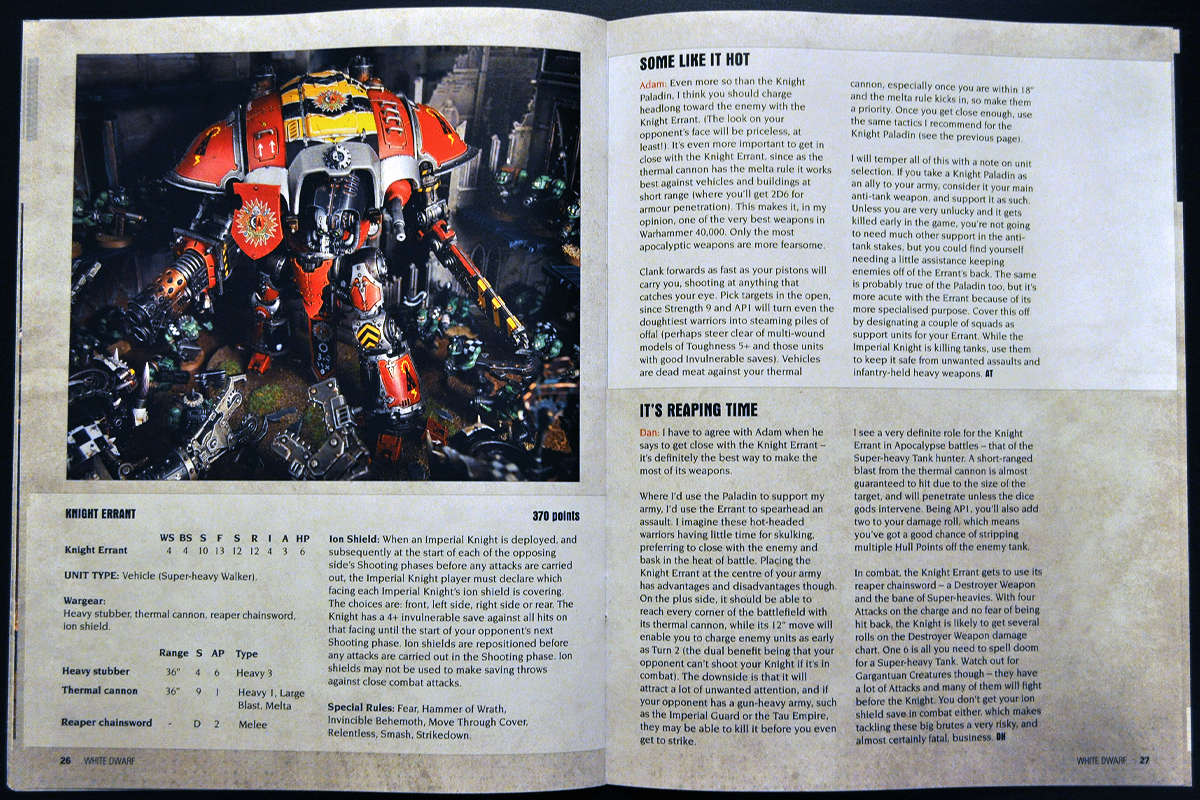 White Dwarf Ferbruary 2014 Week 4 Imperial Knight Errant Rules