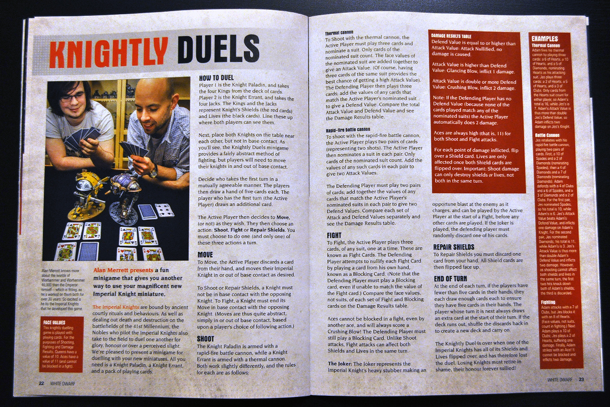 White Dwarf March 2014 Week 1 Knightly Duel Rules