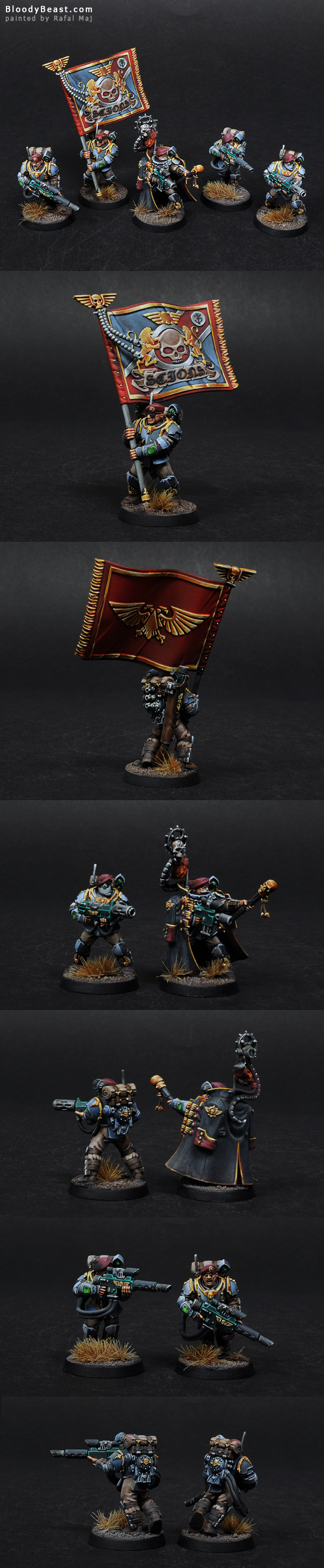 Militarum Tempestus Scions Command Squad painted by Rafal Maj (BloodyBeast.com)